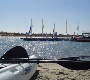 Kayaking on the bay in San Diego