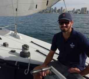 Jake Fischetti on boat.